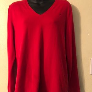 TOMMY HILFIGER RED V NECK SWEATER LARGE VERY CUTE